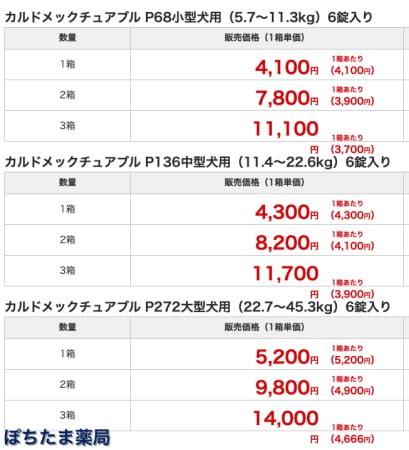 ぽちたま薬局のカルドメック(ハートガードプラス)の価格